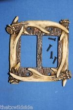 (1)faux, ANTLER DOUBLE ROCKER SWITCH PLATE COVER, HUNTING DECOR, COUNTRY DECOR