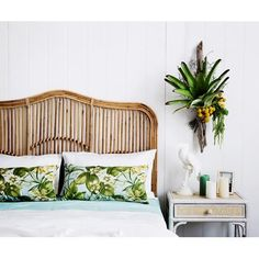rattan headboard and tropical bedroom decor Decor, Above Bed Decor, Rattan Headboard, Home Bedroom, Bedroom Design, Wicker Furniture, Home Decor, Bedroom Inspirations, Tropical Bedrooms