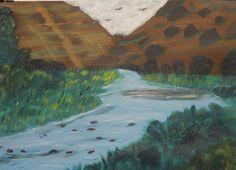 Owyhee River, 11X14, acrylic on canvas