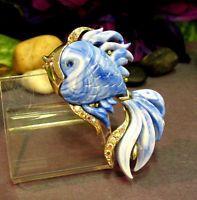 """Vintage HATTIE CARNEGIE Rhinestone Blue Lucite """"Fish"""" Pin Brooch"""
