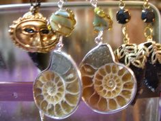 Ammonite fossil earrings chambered nautilus by TheCreativeBlock, $19.00