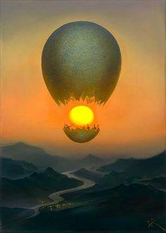 Vladimir kush. C'est l'histoire d'une mongolfière qui a éclaté et qui a fait apparaître le soleil pour la premiere fois. Les hommes dans la mongolfière font honneur au soleil en le montrant des mains .  ( L.C )