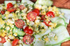 Zucchini, Corn, and Tomato Salad with Basil Vinaigrette