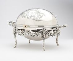 Second half century, Sheffield, mark of William Wheatcroft Harrison, the oval body with revolving cover enclosin. on Mar 2013 Vintage China, Vintage Silver, Antique Silver, Dining Ware, Goldfish Bowl, Beautiful Table Settings, Argent Sterling, Silver Stars, Serving Dishes