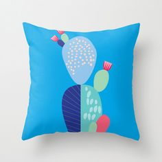 Blue Cactus Cushion