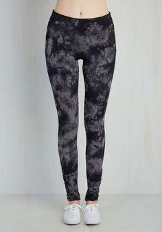 Jog Your Melody Athletic Leggings - Knit, Black, Grey, Print, Tie Dye, Athletic, Skinny, Spring, Mid-Rise, Full length
