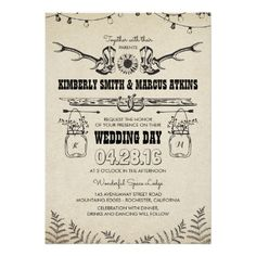 Cowboy Boots Sunflower Country Rustic Barn Wedding Card Invitations