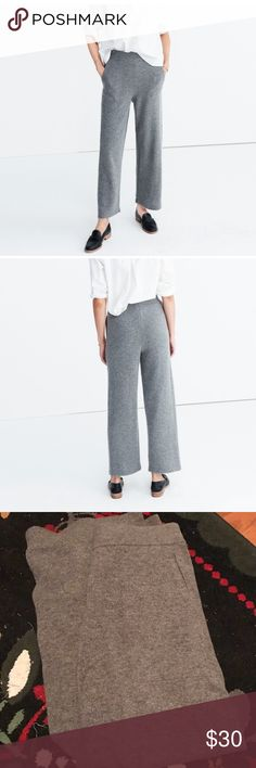 Madewell Wide Leg Sweater Pants Grey sweater pants- really comfy!! No pilling, Never worn- the wool bothered me and they've been living in my closet. Can definitely be dressed up! Wool and spandex. Madewell Pants Wide Leg