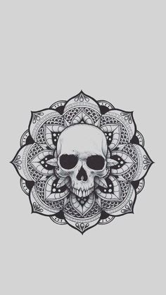 Imagen de drawing, mandala, and skull