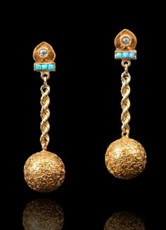 """18K ART DECO ETRUSCAN REVIVAL DROP EARRINGS: Yellow gold with diamonds and turquoise. Post and nut closure. Length: 1 3/8"""". Weight: 3.6 grams."""
