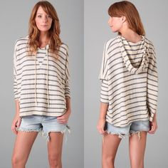 """Patterson J. Kincaid Milano Stripe Hoodie Pullover Perfect for night time at the beach or roasting smores by the fire! This oversized, hooded top features embroidered stripes and draped sides. Inverted triangle at bust and dropped seams at shoulders. Rolled edge at asymmetrical bottom hem. Long dolman sleeves. Seam coming loose at front (about 1"""" in length) - EASILY MENDABLE - SIZE XS (fits XS-M) - OTHERWISE EUC (no stains or pilling) - 21"""" long, measured from shoulder - Jersey - 41% supima…"""