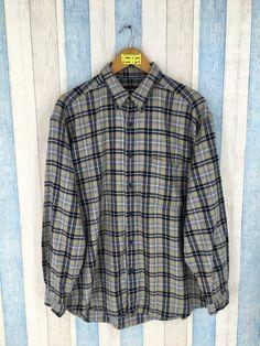 e1d56a33a EDDIE BAUER Large Flannel Vintage 90's Plaid Checkered Hipster Minimalist  Grunge Flannel Distressed Buttondown Flannel Shirt Size L