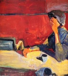 Woman at Table in Strong Light Richard Diebenkorn American painter His early work is associated with abstract expressionism. Richard Diebenkorn, Tachisme, Camille Pissarro, Robert Motherwell, Figure Painting, Painting & Drawing, Painting Abstract, Arthur Dove, Bay Area Figurative Movement