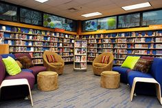 Members of the Florissant Valley Teen Advisory Group helped to choose the furniture and color palette for the teens-only space at the Florissant library in St. Louis County.  Teen Alley also offers gaming equipment, three computers and a wealth of comfy seating, including bean bag chairs and sectional furniture that can be rearranged. Photo: Dave Moore