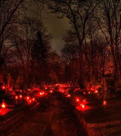 All Souls Day- November European cemetery blaze with candles on the graves of the dearly departed CEMENTERIO Dark Angels, Red Aesthetic, Aesthetic Grunge, Gif Terror, Old Cemeteries, Graveyards, All Souls Day, All Saints Day, Dark Pictures