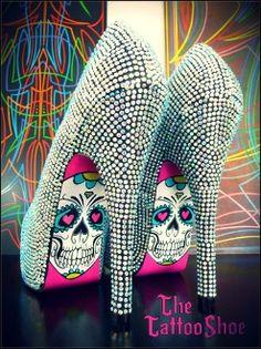 Silver Studed Skull Heels