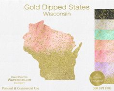 WATERCOLOR & GOLD WISONSIN Clipart Commercial Use by ClipArtBrat