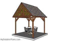 This step by step diy woodworking project is about a 10x10 free pavilion plans. If you want to build a small shelter in your backyard to create shade for a table and a few chairs, you should take a look over this design.