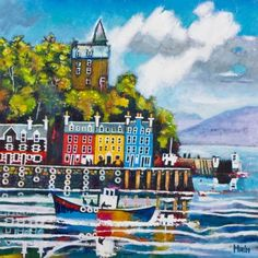 Buy Arriving, Tobermory Giclee Art Print by Rob Hain at Bay Attic. Secure Online Shopping, Free UK Shipping on orders over 30 Day Money Back Guara. The Loch, Marketing And Advertising, Giclee Print, Art Prints, Artist, Poster, Handmade, Painting, Image
