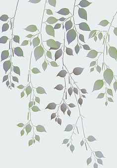 Little Ash Leaves Stencil - Henny Donovan Motif Stencil Patterns, Stencil Designs, Leaf Stencil, Large Wall Stencil, Bird Stencil, Damask Stencil, Green Colour Palette, Fabric Painting, Faux Painting