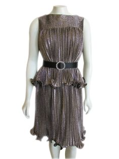 Vintage 1960s Muted Gold Metallic Pleated Ruffle Dress