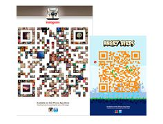 """Ads from Instragram and Angry Birds, both created by U.K. Ad Agency """"Made by Stupid"""". Both QR codes take you directly to download the app, and are a great showcase for both ad creativity and self-explanatory promotion of the apps themselves."""