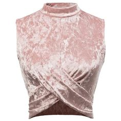 Pink Overlap Front Sleeveless Velvet Top ($12) ❤ liked on Polyvore featuring tops, pink, collar top, sleeveless collared top, velvet top, sleeveless tops and wrap top