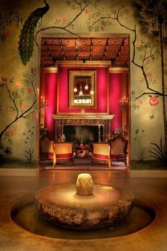 Stunning Chinoiserie - peacock painted on the wall-cerise