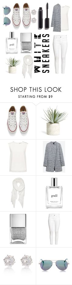 """""""White sneakers"""" by campotics ❤ liked on Polyvore featuring Converse, Allstate Floral, Finders Keepers, Zara, Calvin Klein, philosophy, Nails Inc., H&M, River Island and Cutler and Gross"""