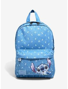 Backpacks for Girls & Guys: Cool, Funny & More Disney Loungefly Lilo & Stitch Denim Backpack, Stitch Backpack, Denim Backpack, Cute Mini Backpacks, Girl Backpacks, Canvas Backpacks, School Backpacks, Lelo And Stitch, Lilo And Stitch Quotes, Stitch Drawing