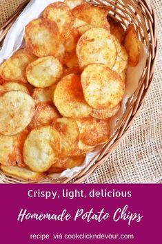 Oven Potato Chips, Potato Chips Homemade, Best Potato Chips, Fried Potato Chips, Home Made Potato Chips, Air Fryer Potato Chips, Potato Crisps, Lunch Snacks, Savory Snacks