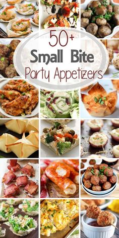 50+ Small Bite Party Appetizers ~ Get ready for holiday parties and New Year's Eve! This round up has over 50 recipes from the best bloggers