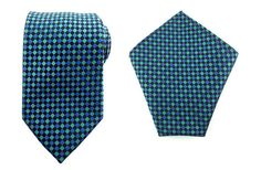 Mens Necktie Green Blue Black 8.5 CM Necktie with Pocket Square.