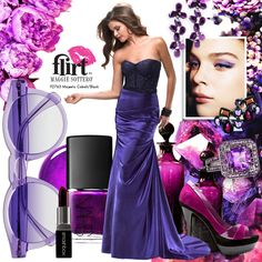 Flirt prom dress P2763 styled with inky purple earrings, lipstick, heels and makeup ideas!