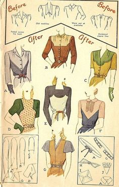 """""""For although the War Production Board is intent on keeping yardage used by the ready-to-wear industry down to a minimum, it will not freeze fashion ingenuity."""" Women were encouraged to Make do and Mend. Patterns on how to repurpose not only your but your husbands clothing into new dresses, shirts, coats and pajamas were produced alongside rationing coupons."""