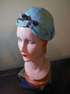 Robin's Egg Blue Blocked Straw Hat OOAK by BaublesAndWhatnots, SOLD