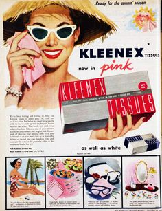 Kleenex - now in pink, and somehow related to sunglasses! 1957