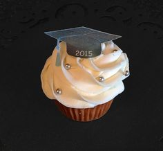 Edible Wafer Paper - Cupcake Toppers - Class of 2015 Graduation Cap