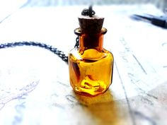 Amber Apothecary Bottle Necklace Glass Bottle Necklace Terrarium Bottle Shabby Chic Vintage Necklace Personalized Jewelry Mother's Day on Etsy, $33.85 CAD
