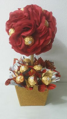 Simple and Sweet Topiary with 24 yummy Ferrero Rocher chocolates!
