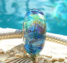MAKAHA AQUA OPAL Fully Lined Sterling Silver Big by beachlifebeads, $23.00