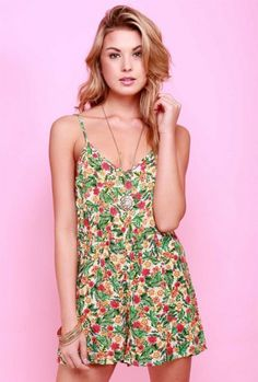 Sincerely Sweet Romper - Sweet Escape Palm Leaf Floral Romper in Lime/Pink
