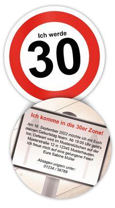 Geburtstagseinladung zum 30 Geburtstag - 30er Zone - kreative Einladung als Bierdeckel - Durchmesser 10,3 cm