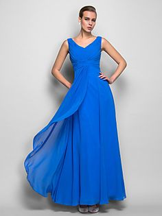 Formal Evening / Military Ball Dress - Open Back Plus Size / Petite A-line / Princess V-neck Floor-length Chiffon / Lace withDraping / 2016 - $134.99