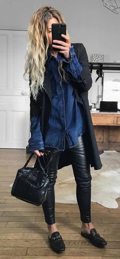 stylish look / black cardi + denim shirt + bag + leather skinnies + loafers
