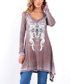 This Mocha & White Cross Sidetail Tunic by  is perfect! #zulilyfinds