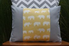 Grey and Yellow Elephant pillow cover for kids!  Organic Yellow and Grey Elephant Pillow Cover  by nest2impress