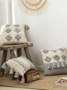 To find out about the Tufted Tassel Decor Cushion Cover Without Filler at SHEIN, part of our latest Decorative Pillows ready to shop online today! Grey Sofa Bed, Border Embroidery Designs, Punch Needle Patterns, Boho Cushions, Diy Cushion, Home Textile, Decorative Pillows, Decoration, Pillow Covers
