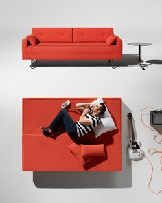 One Night Stand Sleeper Sofa: Instant sleepover enabler. Our goal was to design a modern sleeper sofa that doesn't look like a sleeper. Sort of like a wolf in sheep's clothing. Just remove the back cushions and flip the seat forward. Voilà, instant queen-sized mattress. #red #sleepersofa