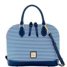 Dooney & Bourke | DB Stripe Zip Zip Satchel | Spring Fashion    Stripes |  Striped Handbag | Striped Accessory | Striped Accessories | Striped Purse | Fashion | Style | Spring | Summer | New
